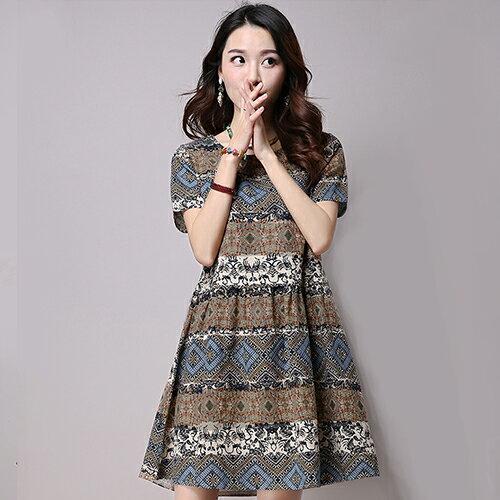 短洋裝 - 民族風印花寬鬆短袖洋裝【29137】藍色巴黎-現貨+預購 1
