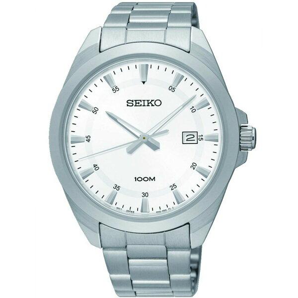 【錶飾精品】SEIKO手錶 精工表 經典時尚 SUR205P1 白面日期 防水100M男錶 全新原廠正品 生日情人禮物