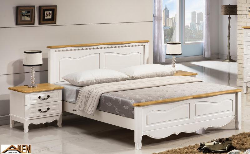 亞倫傢俱*貝妮雅紐松實木6尺雙人加大床架 (白色) 0