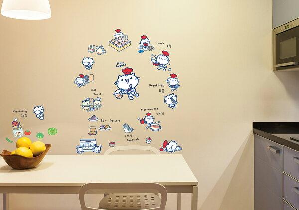 創意時尚無痕環保PVC壁貼牆貼-GIM007 麻吉貓創意壁貼-小小美食家(雙拼),防水.不傷牆面可重覆撕貼.室內佈置好幫手
