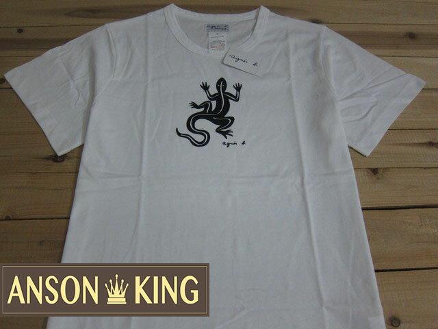 [Anson king]outlet國外代購 agnes b.蜥蜴圖騰 短袖 圓領 男款 T恤 白 - 限時優惠好康折扣