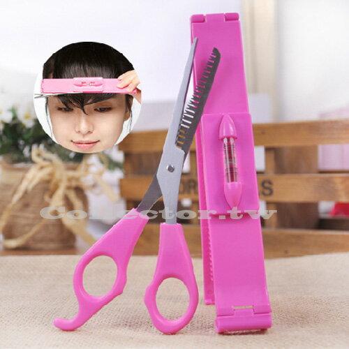 ~J14051301~韓式瀏海修剪神器 ^(打薄剪 水平尺^) DIY打薄剪美髮工具 ~