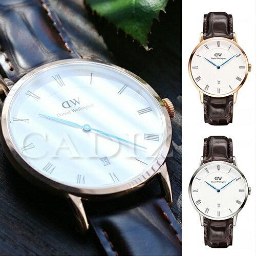 【Cadiz】瑞典正品 Daniel Wellington DW錶  1102DW金1122DW銀 Dapper York 3.8MM 深棕色鱷魚皮革 羅馬藍色指針日期窗 新款 對錶 情侶錶 男女錶  [代購/ 現貨] 1
