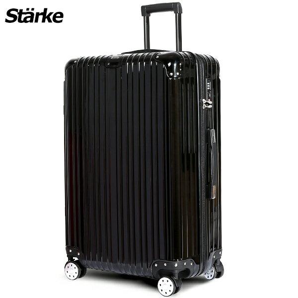 E&J【008002-04】starke  德國設計28吋 PC+ABS 鏡面防爆拉鍊硬殼行李箱 axs97 -黑色