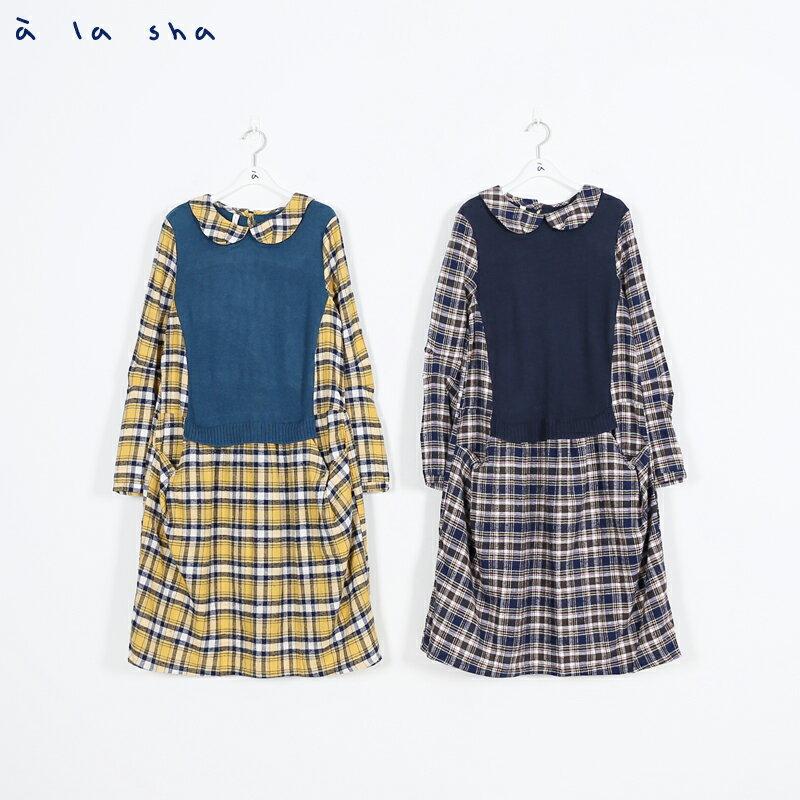 a la sha Qummi 格紋與針織拼接洋裝 2