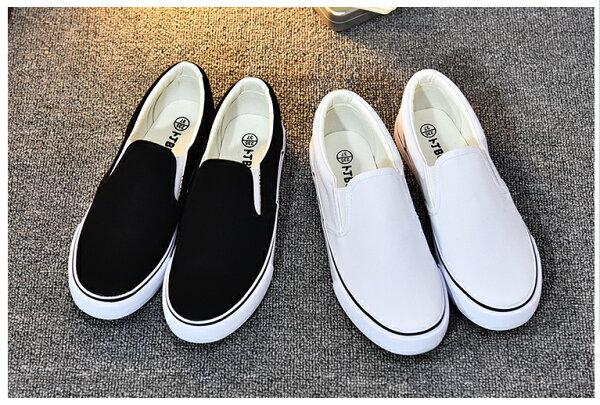 Pyf ♥ 基本款 黑 白 素面 帆布懶人鞋 平底休閒鞋 43 44 大尺碼女鞋