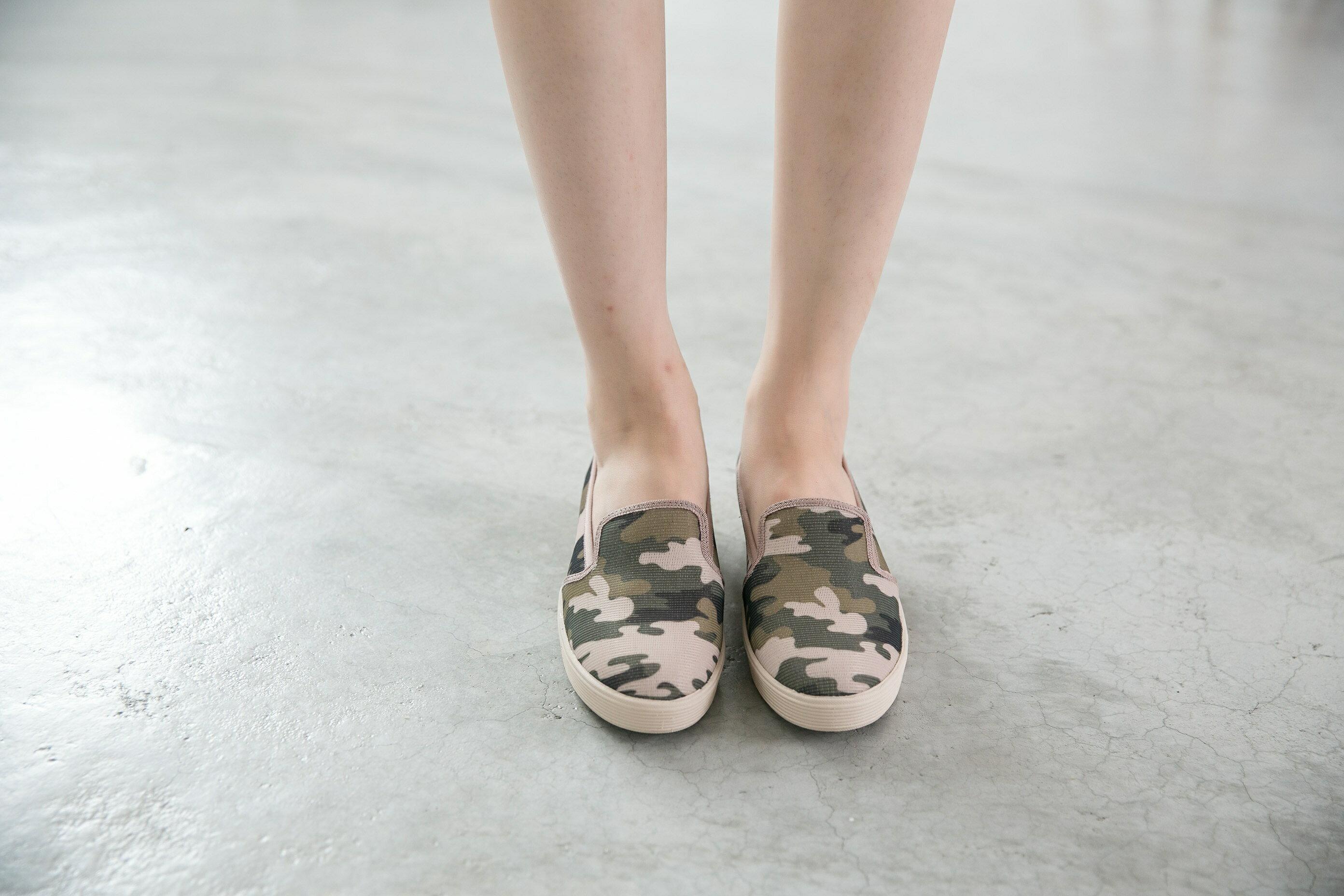 Aimez La Vie 超輕氣墊鞋|韓系迷彩真皮內裡樂福休閒鞋 0