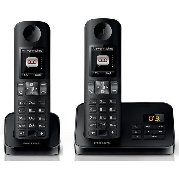 PHILIPS 飛利浦 全彩中文答錄雙機數位無線電話 D6052B / D-6052B