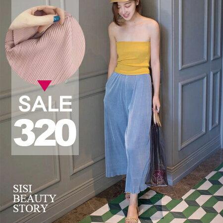 SISI【P6030】高腰復古顯瘦休閒寬鬆鬆緊腰七分直筒寬管褲