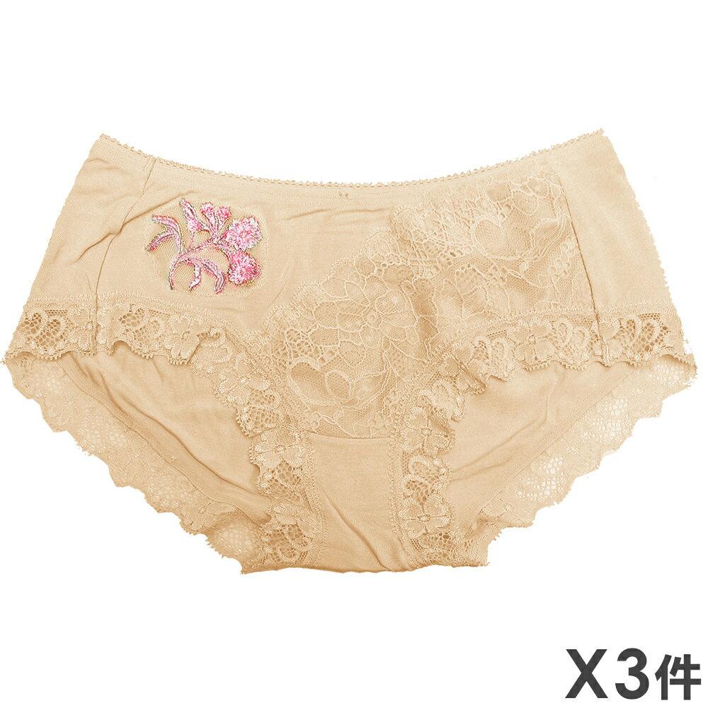 3件199免運【AJM】金絲繡花蕾絲三角褲 3件組(膚)M 0