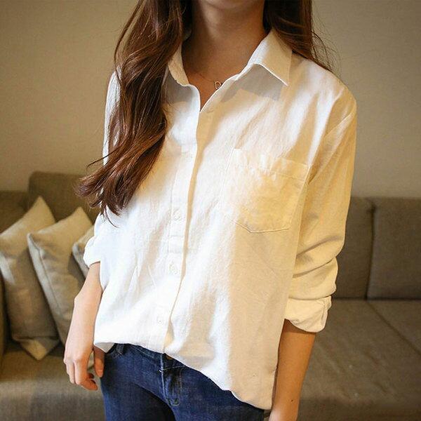 PS Mall 韓版長袖襯衫 百搭寬鬆麻棉白襯衫【T601】