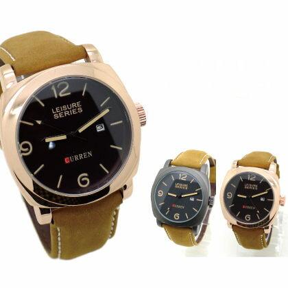 《好時光》CURREN 軍錶 小沛風格 雙層鏤空數字 玫瑰金/霧面框 真日期 時尚男錶-皮錶帶