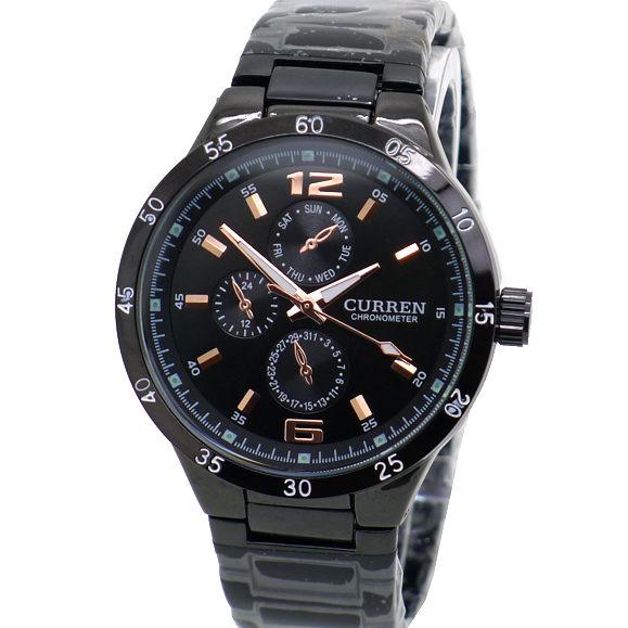 CURREN 玫瑰金 仿三眼質感紋路設計 運動錶  型男 個性 黑鋼款 男錶 《好時光》
