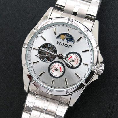 《好時光》Wilon 日月星辰 三眼 自動機械錶 背面鏤空 男錶-銀白