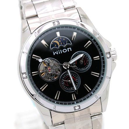《好時光》Wilon 日月星辰/24小時/小秒圈 三眼 自動機械錶 背面鏤空 男錶-黑