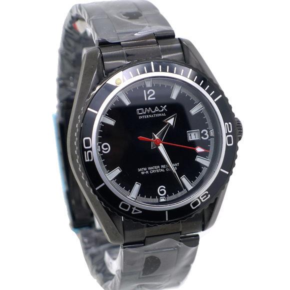 《好時光》OMAX 歐瑪士 經典黑水鬼(日期窗)可旋轉框 不鏽鋼石英男錶-銀刻度