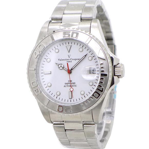 《好時光》Valentino 范倫鐵諾 水鬼 遊艇 日期 背面鏤空 可旋轉框 自動機械錶-水晶鏡面-白