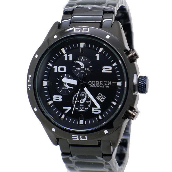 《好時光》CURREN 競速賽車款 仿三眼造型 潮流數字刻度 大錶徑 真日期 時尚男錶 黑色