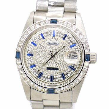 《好時光》Valentino 范倫鐵諾 銀色風華滿天星鑽 藍寶石方鑽 藍時標(日期)自動機械錶-水晶鏡面