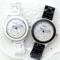 母親節禮物推薦Dinal 立體浮雕山茶花 香奈女孩 晶鑽時刻 真陶瓷錶帶-單支《好時光》母親節