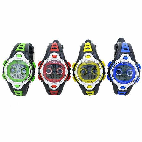 《好時光》O.T.S  小款 果凍色 運動風 七彩冷光 多功能電子錶/兒童錶-雙色錶帶-幼稚園 / 國小