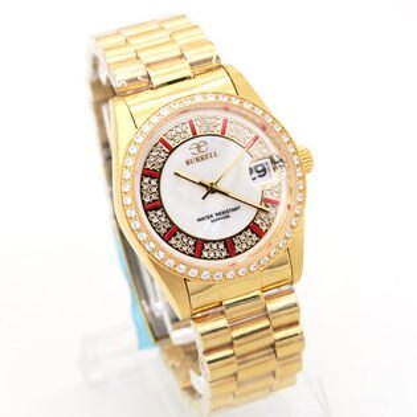 《好時光》BURRELL 貝瑞爾 金色風華 爪鑲晶鑽框 珍珠貝面 滿天星鑽 紅時標(日期)男錶-水晶鏡面
