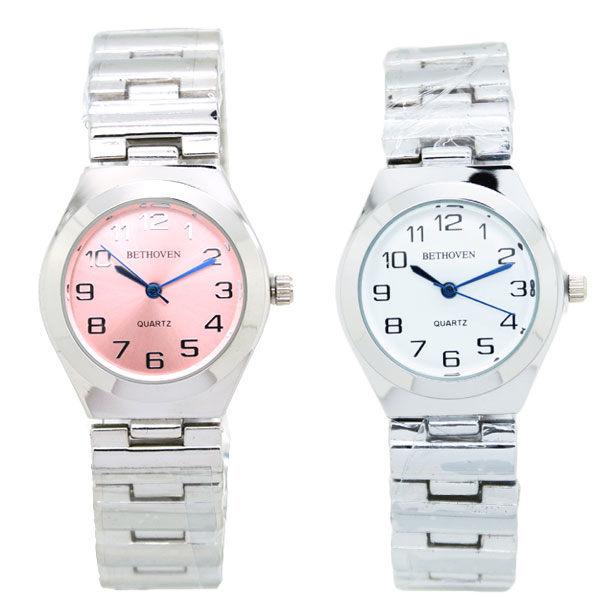 《好時光》BETHOVEN 經典風格 清晰數字 亮銀金屬錶帶時尚腕錶 女錶-單支價格