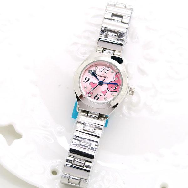 《好時光》BETHOVEN  甜蜜心心 晶鑽數字 亮銀金屬錶帶時尚腕錶 女錶-單支價格