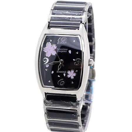 《好時光》Valentino  范倫鐵諾 酒桶型櫻花綻放天然真鑽精密陶瓷時尚女錶