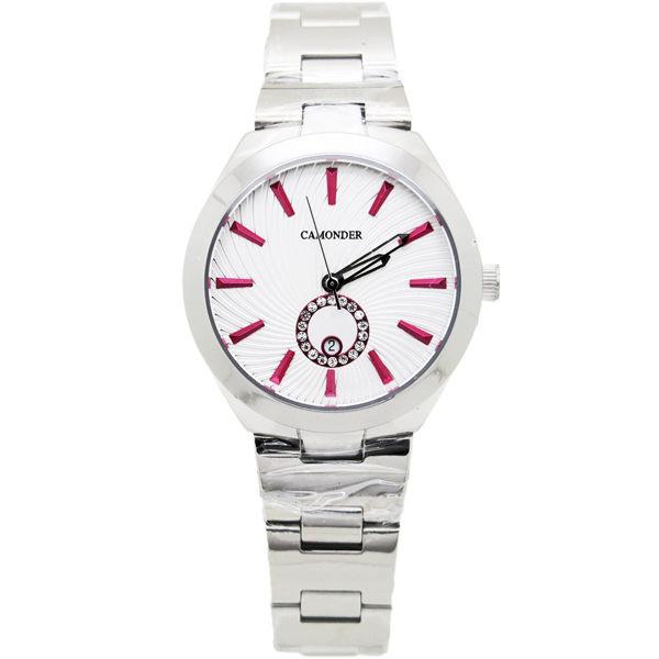 《好時光》CAMONDER 卡蒙迪 馬卡龍 立體紋面 甜蜜晶鑽圓 日期 不鏽鋼男錶 女錶 對錶 水晶鏡面-單支