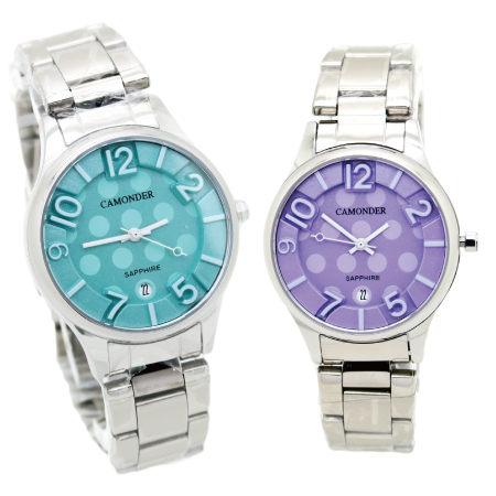 《好時光》CAMONDER 卡蒙迪 馬卡龍色 立體浮雕數字  點點風 日期窗 不鏽鋼時尚女錶 水晶鏡面