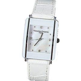 《好時光》Valentino 范倫鐵諾 長方形陶瓷造型+真皮錶帶時尚男錶-白色