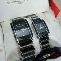 《好時光》Valentino 范倫鐵諾 長方型經典陶瓷時尚情人對錶-黑色