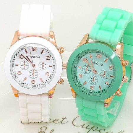 《好時光》GENEVA 馬卡龍冰沙色 甜蜜派對 假三眼 玫瑰金框 果凍QQ錶 造型錶