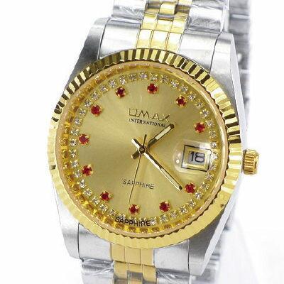 《好時光》OMAX 歐瑪士 中金款紅寶石晶鑽時刻(日期窗)時尚男錶-藍寶石水晶鏡面