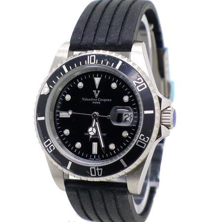 《好時光》Valentino Coupeau 范倫鐵諾 經典水鬼王 可旋轉框(日期窗)時尚男錶-黑-矽膠錶帶