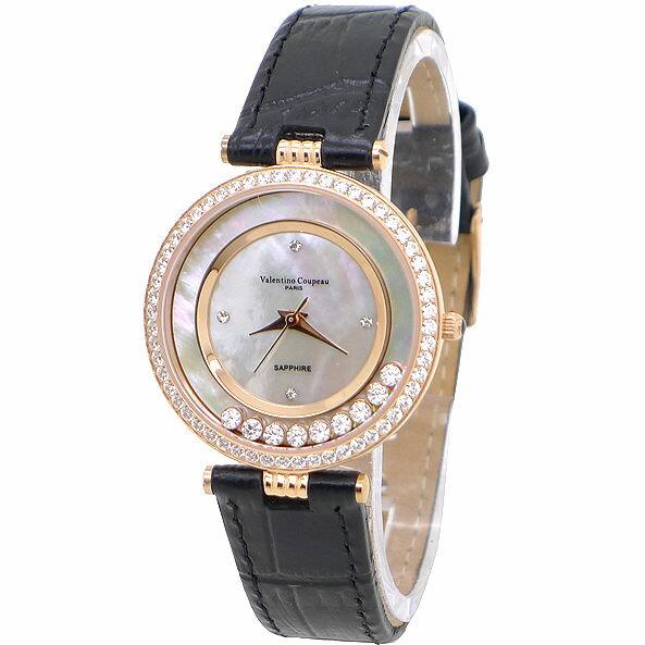 《好時光》Valentino 范倫鐵諾 玫瑰金色八心八箭方晶鋯石爪鑽框快樂鑽時尚女錶-水晶鏡面-皮錶帶