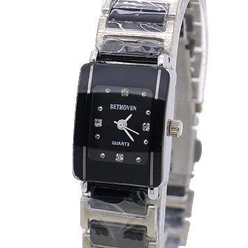 《好時光》Bethoven 貝多芬 長方形 晶鑽時刻/清晰數字 陶瓷時尚女錶-白/黑 (防水)