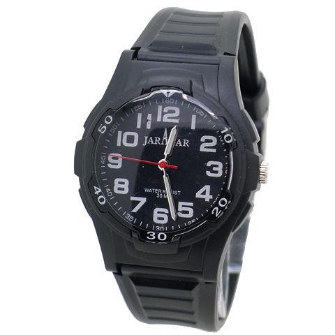 ~好時光~JARAGAR 黑色 風 清晰數字防水石英男錶 女錶~黑面 ~  好康折扣