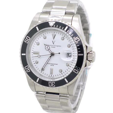 《好時光》Valentino Coupeau 范倫鐵諾 經典水鬼王 可旋轉框(日期窗)時尚男錶-白
