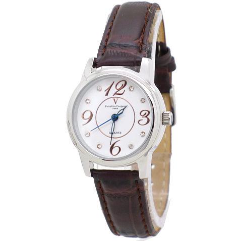《好時光》Valentino Coupeau 范倫鐵諾 時尚晶鑽大數字時尚男錶/女錶-皮錶帶-咖啡玫瑰金