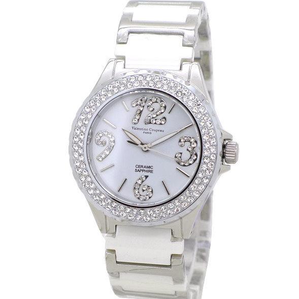 《好時光》Valentino 范倫鐵諾 白色高精密陶瓷似香奈兒J12 晶鑽數字女錶-水晶鏡面 晶鑽框