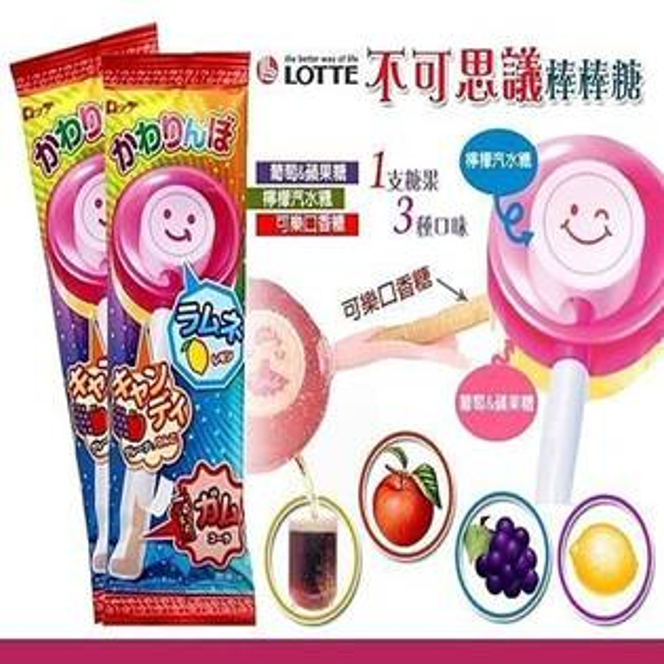 日本LOTTE 羅德 不可思議歡樂棒棒糖口香糖 (棒棒糖+口香糖)
