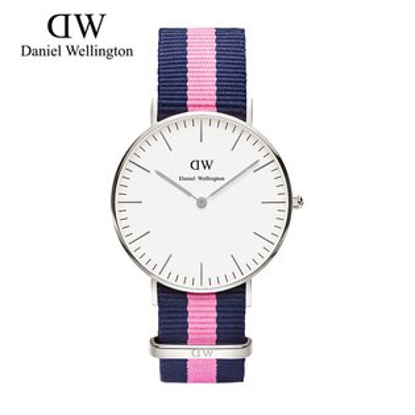 瑞典正品代購 Daniel Wellington 0604DW 銀 尼龍 帆布錶帶 女錶手錶腕錶 36MM