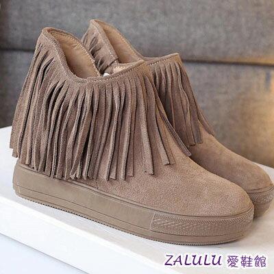 ☼zalulu愛鞋館☼ JE194 預購日系美腿內增高流蘇素面內刷毛短筒靴-偏小-杏/黑-36-39