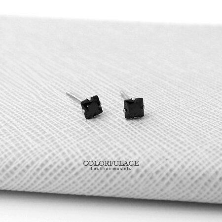 方形鋯石單鑽4mm耳針耳環 簡約耀眼中性款男女適合 多色任選 柒彩年代【ND200】單支價格
