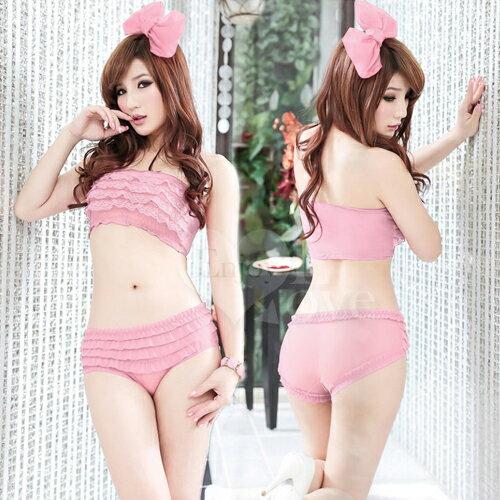透視誘惑層層疊荷葉邊內褲﹝粉紅﹞ 性感內褲 情趣內褲 情趣用品
