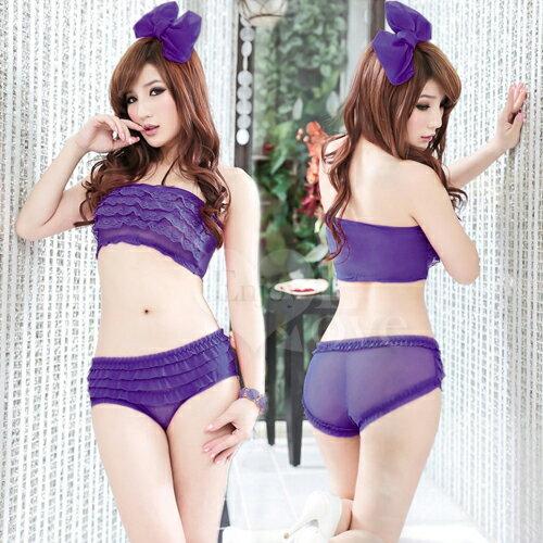 透視誘惑層層疊荷葉邊內褲﹝紫﹞ 性感內褲 情趣內褲 情趣用品