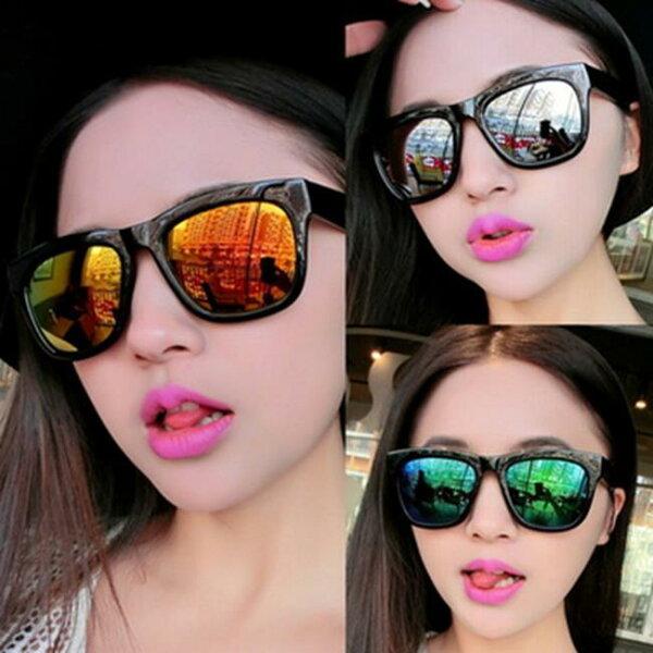 50%OFF【J013656Gls】新款方框彩膜太陽鏡潮小辣椒同款時尚炫彩反光太陽眼鏡墨鏡附眼鏡盒