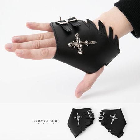 手套 日系骷髏十字架天使翅膀皮革造型手套 重機搖滾龐克風格 柒彩年代【NM54】舞蹈表演配件 0